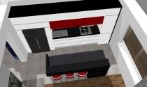 biało-czarna kuchnia z odrobina czerwieni
