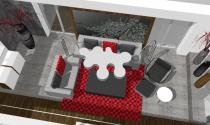 salon z czerwonym dywanem
