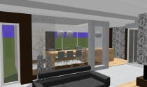 salon z otwarta jadalnia i kuchnia
